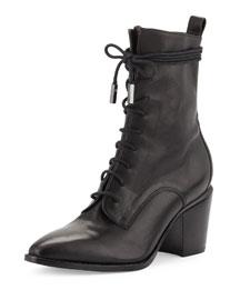 Duran Lace-Up Block-Heel Boot, Black