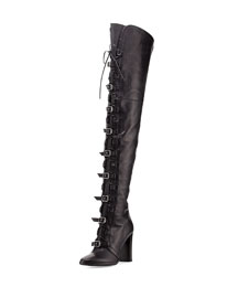 Maloy Tall Leather Moto Boot, Black