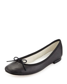 Cendrillon Leather Ballerina Flat, Noir