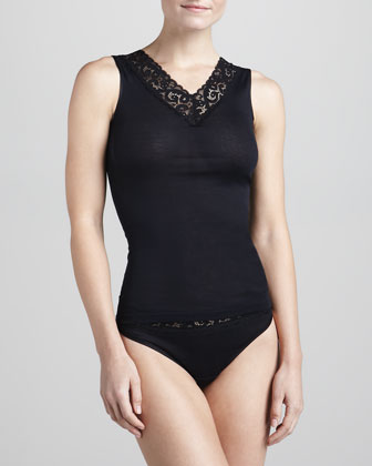 Moments V-Neck Tank & High-Cut Briefs, Black