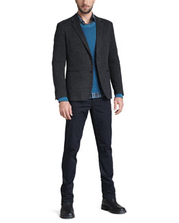 Theory Knit Sport Coat, Cotton-Cashmere Sweater, Plaid Sport Shirt & Slim Five-Pocket Twill Pants