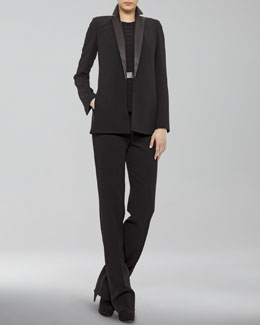 Akris Leather-Lapel Jacket, Pleated Silk Blouse & Carla Classic Pants