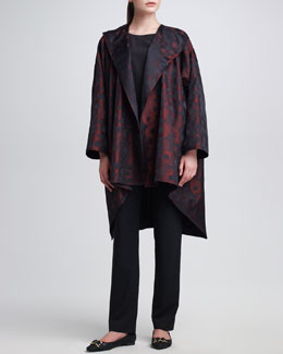 eskandar Satin Floral-Print Jacquard Jacket, Silk A-Line Shell & Narrow Trousers