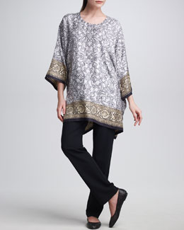 eskandar Embroidered Armour Print Silk Tunic & Narrow Trousers