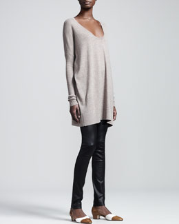 THE ROW Scoop-Neck Wool Sweater & Stretch-Leather Motorcycle Leggings
