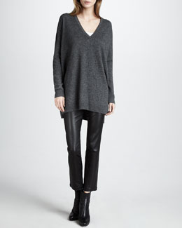 Vince Tunic Sweater & Leather Cropped Leggings