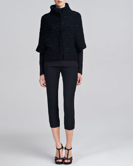 Piazza Sempione Funnel-Neck Knit Capelet, Long-Sleeve Tee & Audrey Capri Pants