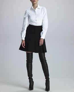 Chado Ralph Rucci Quilted Pique-Knit Shirt & Crepe Panel Skirt