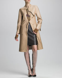 Chado Ralph Rucci Crack-Print Cashmere Coat & Paneled Leather Skirt