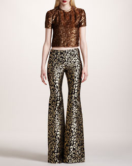Wes Gordon Crushed Velvet Tee & Flared Leopard-Brocade Pants