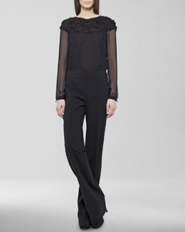 Akris punto Paillette-Yoke Chiffon Blouse & Karla Wide-Leg Pants