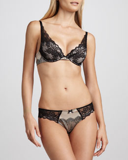 Chantelle Paris Push-Up Plunge Bra & Satin-Jacquard Thong