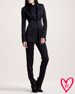 THE ROW BG 111th Anniversary Crepe-Back Satin Tuxedo & Long-Sleeve Satin Blouse