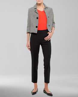 Akris punto Striped Cotton Jacket, V-Neck Back-Zip Shell & Franca High-Waist Cropped Pants