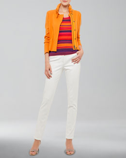 Akris punto Front-Zip Knit Jacket, Striped Scoop-Neck Shell & Margaret Straight-Leg Jeans