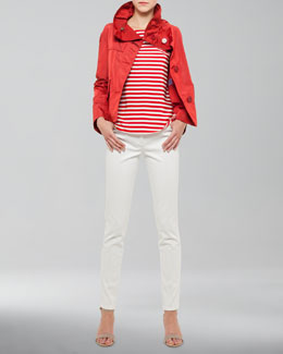 Akris punto Boxy Tech-Fabric Swing Jacket, Tab-Sleeve Striped Tee & Margaret Straight-Leg Jeans