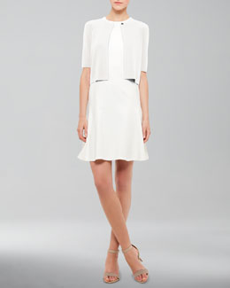 Akris punto Half-Sleeve Cardigan & Flare-Skirt Jersey Dress