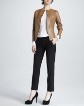 Vince Snap-Front Leather Jacket, Loose Slub Tee & Cropped Straight-Leg Pants