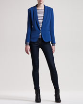 Rag & Bone Sliver Tuxedo Jacket, Gansevoort Striped Top & The High-Rise Skinny Heritage Jeans