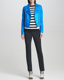 Jason Wu Leather Motorcycle Jacket, Striped Long-Sleeve Pullover & Classic Stovepipe Pants