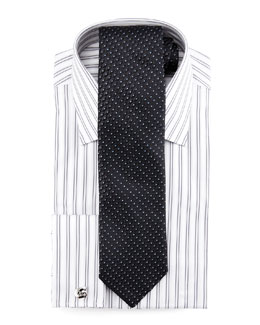 Charvet Striped Dress Shirt & Geometric/Dots Tie