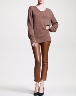 THE ROW Cashmere V-Neck Sweater & Flared Leather Leggings