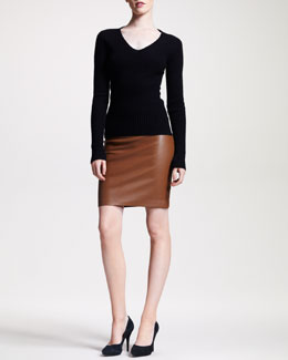 THE ROW V-Neck Cable Sweater & Lambskin Pencil Skirt