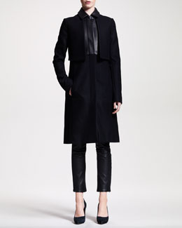 THE ROW Long Leather-Trim Coat & Ankle-Zip Leather Leggings