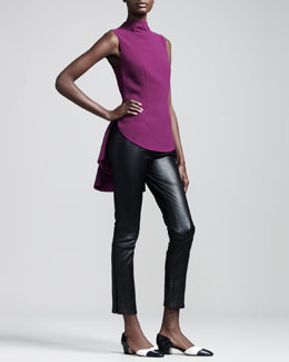THE ROW Sleeveless Crepe Peplum Blouse & Ankle-Zip Leather Leggings