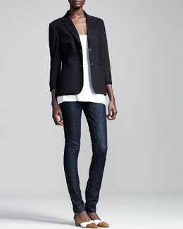 THE ROW Stretch-Wool Summer Blazer, Scoop-Neck Jersey Tee & Stretch-Denim Leggings