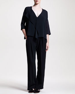 THE ROW Fluid Draped-Front Blouse & Wide-Leg Pleated Pants