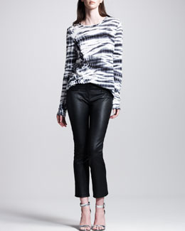 Proenza Schouler Tie-Dye Tissue-Jersey Tee & Stretch-Leather Cropped Boot-Cut Pants