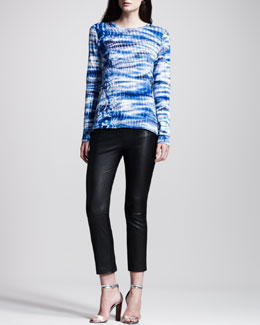Proenza Schouler Tie-Dye Tissue Jersey Tee & Stretch-Leather Cropped Boot-Cut Pants