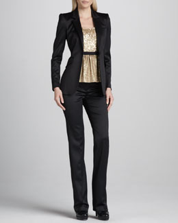 Burberry London Tuxedo Blazer, Contrast-Waist Sequined Top & Tuxedo Pants