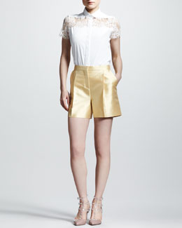 Valentino Lace-Shoulder Poplin Blouse & Pleated Mikado Shorts