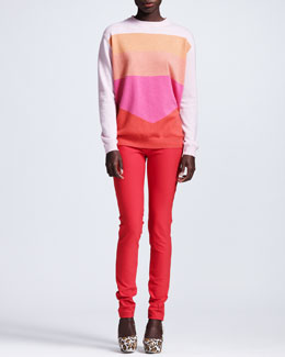 Stella McCartney Colorblock Cashmere Sweater & Stretch Cotton Leggings