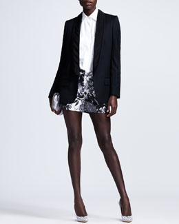 Stella McCartney Triple-Lapel Tuxedo Jacket, Patch-Pocket Poplin Blouse & Floral-Printed Shorts