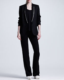 Stella McCartney Shawl-Collar Boyfriend Blazer, Scoop-Neck Long-Sleeve tee & Wide-Leg Suit Pants