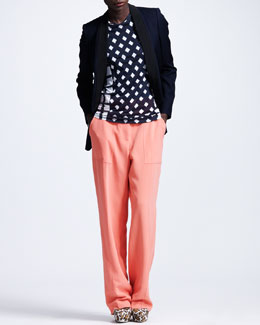 Stella McCartney Triple-Lapel Tuxedo Jacket, Check-Print Tee & Boot-Cut Cady Trousers