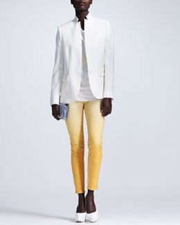 Stella McCartney Open Weave Stand-Collar Blazer, Lace-Applique Tee & Ombre Skinny Jeans
