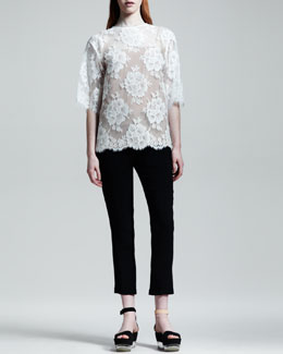 Stella McCartney Half-Sleeve Scalloped Lace Top & Cuffed Drawstring Pants