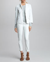 Vince Twill Blazer, Striped Double-Layer Tee & Cuffed Relaxed Jeans