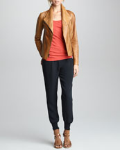 Vince Leather Jacket, Favorite Tank & Silk Sweatpants