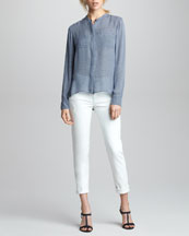 Vince Printed Sheer Silk Top & Cuffed Relaxed Jeans