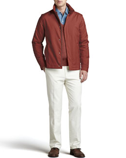 Loro Piana Windstorm Sailing Jacket, Scollo V-Neck Sweater, Andre Chambray Shirt & Four-Pocket Trousers