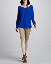 Vince Cashmere Shirttail Sweater & Twill Bermuda Shorts