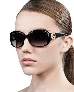 Gucci Wrap Crystal Logo Sunglasses
