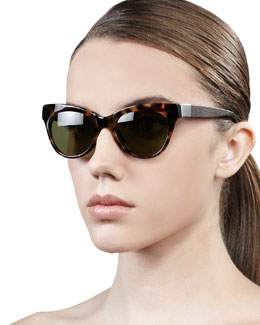 The Row Leather-Arm Cat-Eye Sunglasses