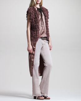 Brunello Cucinelli Fringed Vest, Tailcoat Tank, Laser-Cut Leather Belt & Garment-Washed Boot-Cut Jeans