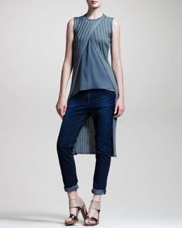 Brunello Cucinelli Cutaway Ribbed Pullover, Reversible Trapeze Camisole & Denim Leggings